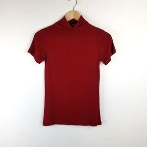 Zara Red Basic T Shirt Top Turtleneck Size S